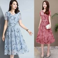 Women Floral Printed Short Sleeve A-Line Dress Long Dress Beach Holiday Party