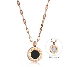 Girls Women Necklace Round Pendant Black Rose gold Fashion Jewelry Roman numeral