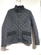 Joules Black Quilted Coat Jacket Size 14 UK L Moredale Floral Lining