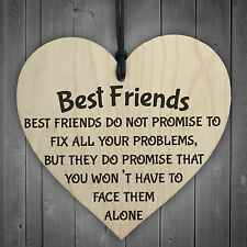 Best Friends Face Problems Together Wooden Hanging Heart Plaque Friendship Sign