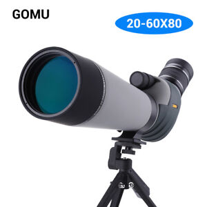 GOMU 20-60x80 Zoom Spotting Scope FMC Lens Bak4 Prism Hunting Monocular + Tripod