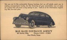 Fort Worth TX Old Car Max Kaye Insurance Co Advertising Postal Card