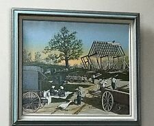 Vintage H. Hargrove  Amish barn building w/buggy Serigraph 20 X 24