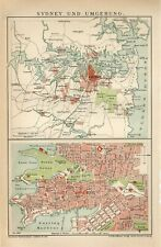 1899 AUSTRALIA SYDNEY CITY and SUBURBS Antique Map dated