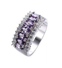 Purple Amethyst Women 10KT White Gold Filled Jewellery Size 11