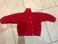 Beautiful Hand Knitted Red Girls Cardi 2-3 Years