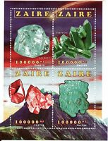 Zaire Minerals - sheet - Diamond, Dioptase, Cuprite, Chrysocolle