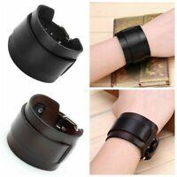 Punk Men Women Wide Genuine Leather Belt Bracelet Cuff Wristband Bangle Fashion