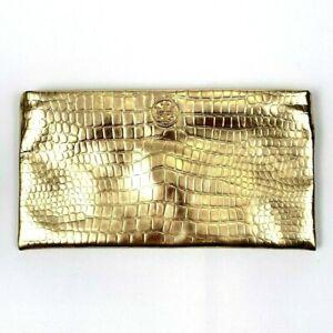 Tory Burch Women's Metallic Gold Zippered Clutch Pouch Purse Crocodile Texture