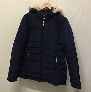 Dorothy Perkins Coat Ladies Quilted Faux Fur Hood Blue Puffer Jacket Sz 14 (002)