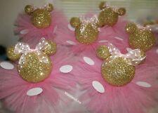 Gold Glitter Minnie Mouse Set 5 Centerpieces 1st Birthday Baby Shower Pink Tutus