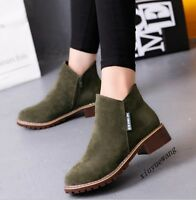 Womens British Fashion Faux Suede Zipper Block Heel Ankle Boots Caual Shoes Size