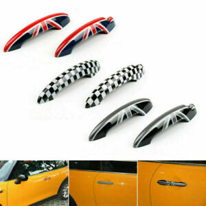 Union Jack UK Flag Checkered Door Handle Cover Fits Mini Cooper R50 R52 R53 CP