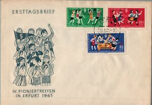 GERMANY DDR 1961 FIRST DAY COVER PIONEERS PLAYING VOLLEYBALL
