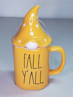 Rae Dunn LL Fall Y'All Orange Mug With Gnome Topper By Magenta New