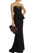 Alexander McQueen Black Duchesse Silk Bustier Corset Peplum Top 40 $1695