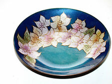 Beautiful Vintage French Canadian Hand Painted Enamel On Copper Bowl