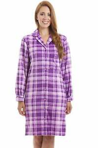 Camille Womens Lilac Checkered Long Sleeve Velour Fleece Button Front Nightshirt