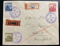 1948 Bodenbach Sudetenland Czechoslovakia Airmail Cover Provisional cancel