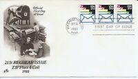 US Scott #2150, First Day Cover 10/22/85 Washington Plate #11111 Coil