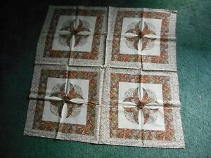 Panels, brown, green, blue and rust flowers, 1 piece, 4 panels