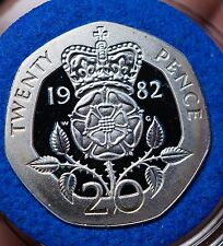 1982 UK Great Britain 20 Pence Silver Piedfort Proof KM-P2 CV=$80