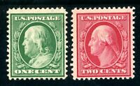 USAstamps Unused FVF US Serie of 1908 Franklin Washington Sct 331 MHR 332 OG MNH