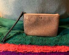 Kate Spade Rose Gold Sparkle Plastic Zip Purse Wallet Pouch Clutch Wristlet
