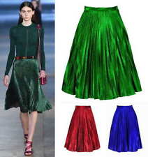 Mid-Calf Polyester Machine Washable Solid Skirts for Women