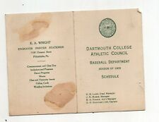 1909 Dartmouth College Baseball Schedule