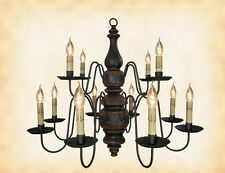 WOOD CHANDELIER - BLACK w/ RED 2 TIER 12 CANDLE Colonial Light Handmade in USA