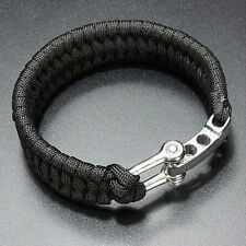 ParaCord Rope Outdoor Survival Bracelet Camping Hiking Steel Shackle Buckle Gift
