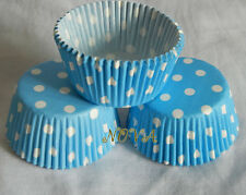 100 light blue white middle dot cupcake liners baking cup muffin cases paper cup