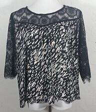 Xhilaration Juniors XL Top Geometric Animal Print Lace Trim Three Fourth Sleeve