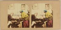 Mal A Denti Scena Artistica Ca 1860 Foto Stereo Vintage Albumina Colorati