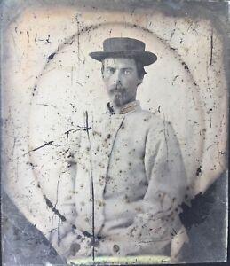 1/6 Plate ANTIQUE 1860s CIVIL WAR AMBROTYPE Photo CONFEDERATE 1st LIEUTENANT CSA