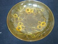 Rare Art Deco bowl Glass signed Verlys France: Amber colour chestnut pattern