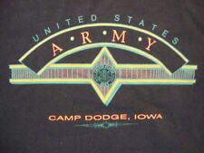 Vintage United States Army Camp Dodge, Iowa Military Black T Shirt Size XL