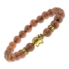 Wooden Bead Bracelet Men Women Ladies Yoga Meditation Prayer Golden Elephant UK