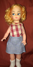 Vintage 10.5� Unbranded Doll In Dress And Boots Shiny Yellow Hair