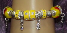 New 925 Sterling Silver Filled and Yellow Enamel Fashion Charm Bracelet