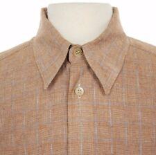 Ermenegildo Zegna Rust Brown Check Plaid Button Front Shirt, Mens Large (Italy)
