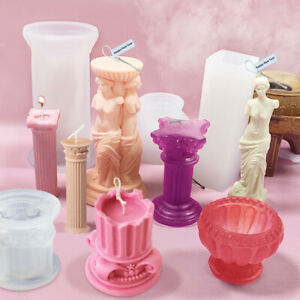 3D Silicone DIY Candle Mould Roman Column Mold Making Candle Plaster Handmade