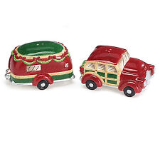 Car Trailer Ceramic Salt Pepper Shakers Holiday Roads Christmas Burton & Burton