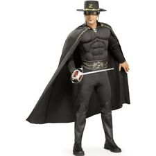 Zorro Deluxe Costume Jumpsuit With Muscle Chest And Eyemask Fancy Dress Mens