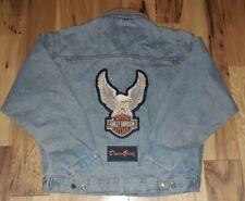 Vtg Harley Davidson Woodlake denim leather collar Jacket Medium Eagle Dyna Glide