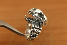 cool limited edition Fine 925 Silver Hand Carving dinosaur skull man Ring
