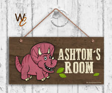 Pink Dinosaur Sign, Personalized Sign, Kid's Name, Kids Door Sign, 5x10 Sign