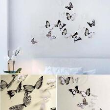 DIY 3D 18pc Décoration Papillon PVC Art Decal Stickers muraux Black / White AT