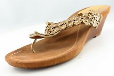 Linea Paolo T-Strap Sandals Gold Synthetic Women Shoes Size 8 Medium (B, M)
